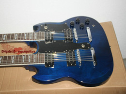 Blue Custom Shop 1275 Double Neck Electric Guitar 6 12 Strings High Quality HOT