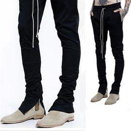 fashion Brand Mens Joggers With Zipper black Drawstring Jogging Pants Men Slim Fit Sweatpants Elastic Tether Skateboard Trousers