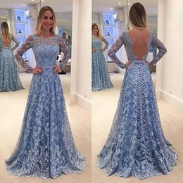 Custom Made 2019 Sky Blue Lace Arabic Evening Dresses Sheer Long Sleeves Bateau Neck Lace Appliques Sexy Backless Formal Prom Event Wears