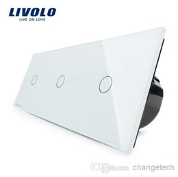 Free Shipping,Livolo EU Standard, Luxury Wall Triple Touch Switch, VL-C703-11,With White Crystal Glass Panel