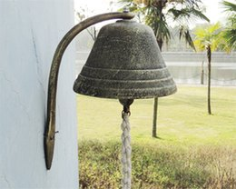 Wholesale Large Cast Iron Dinner Bell Welcome Hanging Bell Western Farm Ranch Patio Garden Gate Yard Door Bell Big Bell Outside Free Ship
