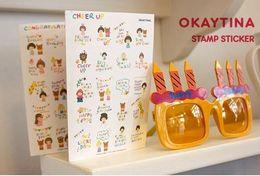 Wholesale Okey Tina Theme Paper Stamp Sticker Diary Decorative Stickers Affixed