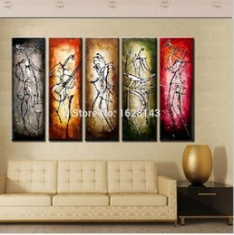 Wholesale Hand Painted Modern Abstract Musical Intruments Players Canvas Oil Paintings Decoration Art piece Wall Pictures For Living Room
