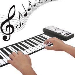61 llaves flexibles de silicona MIDI Digital del Roll-up de teclado de piano con 128 Tono 40 canciones de demostración para la Educación en el Hogar de los niños juguetes desde enrollar 61 teclas proveedores