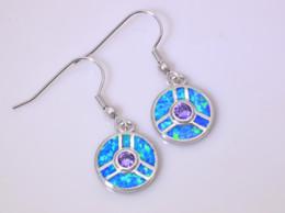 Wholesale & Retail Fashion Blue Fine Fire Opal Earrings 925 Silver Plated Jewelry For Women EJL1631011