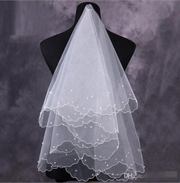 2019 New Veil For Pearls Wedding Dress Bridal Gown Pencil Edge White Ivory Red Tulle One Layers Without Comb Cheap Size 150cm-95cmg