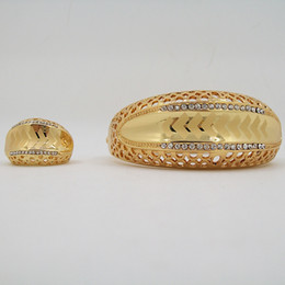 Wholesale Fashion Gold Plated Bracelet Ring Two Piece Sets For Women Jewelry Factory Direct Marketing Lowest Price