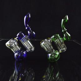 """Soportar pulgadas en Línea-Dos Cámara Bubbler Dab Rig tubo de agua de color reciclado doble 8 """"pulgadas de altura Downstem Stand Bongs Petroleros portátiles de vidrio Hookahs tuberías"""