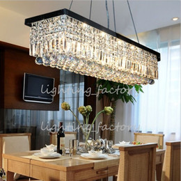 Wholesale-Rectangular crystal chandelier modern minimalist restaurant dining bar table lamp living room lamp lighting