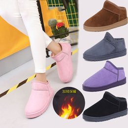 Wholesale Ladies Shoes Short Heel - 2016 new women's winter snow ankle boots Ladies Womens Girls Fur Lined Winter Snow Boots cow split Shoes Cotton short boots