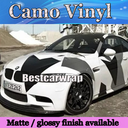 Large Black white grey Pixel Camo Vinyl Car Wrap Styling With Air Rlease Gloss  Matt Arctic Camouflage covering car decals 1.52x30m Roll