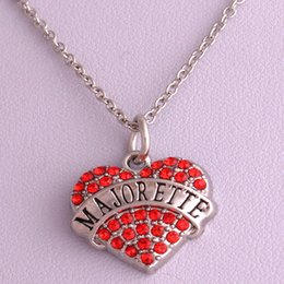 New Arrival Hot Selling rhodium plated zinc studded with sparkling crystals MAJORETTE heart pendant link chain necklace