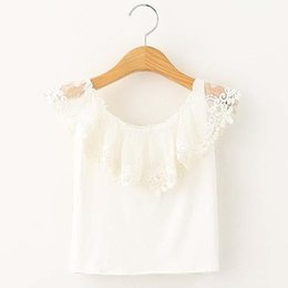 Fashion Girl Dress White Shirt Child Clothes Kids Clothing 2016 Summer Sleeveless T Shirt Lace T-Shirt Girls Tops Children T Shirts