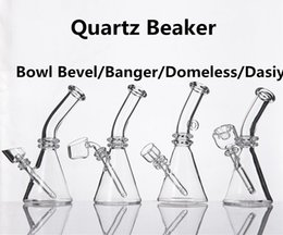 Wholesale Quartz Beaker With Domeless Bevel Banger DAISY Style Bowl Quartz Nail Quartz Banger Packed with individual black box