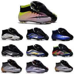 Wholesale Children Kids Mercurial superfly FG Shoes CR7 Superfly Mens Football Boots High Ankle Soccer Cleats socks Soccer Gold Blue Orange Size