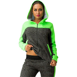 2016 Autumn and Winter Tracksuit for Women Zip-up Collision Color Stitching Hoodies Sport Suit 2 Piece Set Female