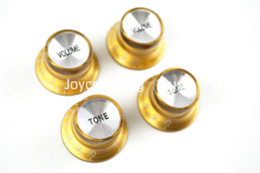 Wholesale 1 Set of Golden Silver Reflector Volume Tone Electric Guitar Knobs For LP SG Style Electric Guitar Wholesales