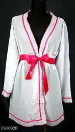Wholesale Nightgown Lingerie Silk Ribbon Belt White Mesh Nylon Sleeping Dress Womens Long Sleeve One Size Fits All Robe Blanc Pajamas Pour Femmes Soft