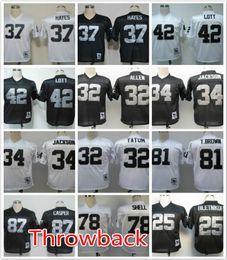 Wholesale Throwback Raiders Ronnie Lott Bo Jackson JACK TATUM Fred Biletnikoff Dave Casper Art Shell men football jerseys