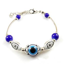 Malos encantos ojo azul en Línea-Venden al por mayor-azul del encanto del ojo malvado tibetana de los brazaletes de las pulseras de plata de granos de la turquesa de Turquía Pulseras para la joyería de la manera de las mujeres