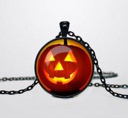 Wholesale 2016 New Halloween Pumpkin Lantern Design Glass Gem Pendant Necklaces Fashion Jewelry Halloween Gifts Hot Sale