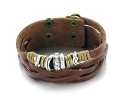 Retro bracelets & bangles Charms fashion jewelry weave Shuangkou Bracelet Adjustable Size Rock Style Men Jewelry Bracelets & Bangles