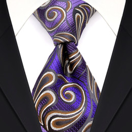 Elegant F18 Purple Brown White Paisley Men's Ties Neckties 100% Silk Jacquard Woven Wholesale Free Shipping