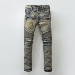 Wholesale Balmain Jeans Fear of God Best Version FOG Men Selvedge Zipper Destroyed Torn Pants Skinny Jeans Blue Jean Slim Fit Justin Bieber God of Fea