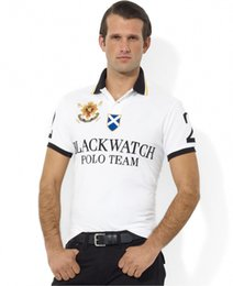 Wholesale BLACK WATCH POLO TEAM Polo Tee Shirts For Men Solid Color Short Sleeve Tee Shirt Slim Fit Shirt Men Cotton polo Shirts Casual Shirts White
