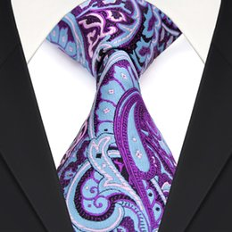 F2 Multicolor Light Blue Fuchsia Red Paisley Floral Mens Ties Neckties 100% Silk Jacquard Woven Wholesale