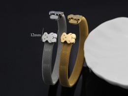 Wholesale Luxury Silver K Gold Teddy Bear Open Bangle Bracelet Titanium Steel Mesh Bracelet For Men Women Gift
