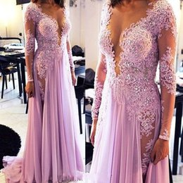 Wholesale 2016 Illusion Low Bust Prom Dresse V Neck Appliques Lace Beading Long Sleeve Pageant Gowns Sexy Chiffon Formal Evening Party Gowns