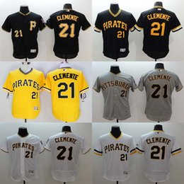 Wholesale Majestic - Men's Pittsburgh Pirates Jerseys #21 Roberto Clemente Jersey Shirts 2016 Baseball Jerseys Flexbase Jerseys Black White Grey Majestic Jersey