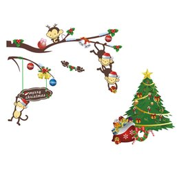 Wholesale Christmas Gift Holiday Shopping Cartoon Monkey Tree Height Tall Sticker Waterproof Removable Mural Wall Stickers Wall Art Decal for Children