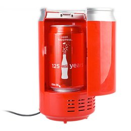 Wholesale Portable USB Can Shaped Cooler and Warmer Mini Coke Fridge Beverage USB Thermoelectric chilling milk warming Refrigerator home office Gift