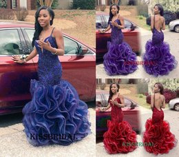Rachel Allan Royal Blue Mermaid Prom Dresses Sexy Long African V-Neck Backless Lace Appliques Ruffles Organza Floor-length Party Gowns