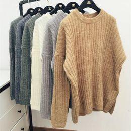 Wholesale 2016 autumn and winter Acne Studios European O neck mohair dark stripe warm pullover sweater cute solid loose women sweater