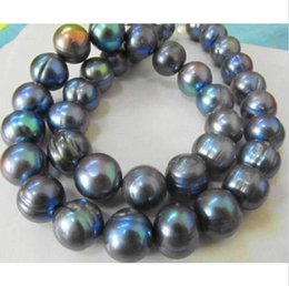"NATURAL NOBLEST RARE 12-13MM SOUTH SEA BLACK BLUE PEARL NECKLACE 18"" 14K@"