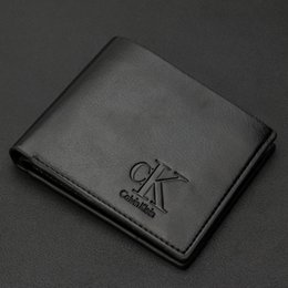 Wholesale Mens Gentleman Black Brand Fashion Solid Leather men Wallets Simple Style Purse With Card Holders Money bag for male
