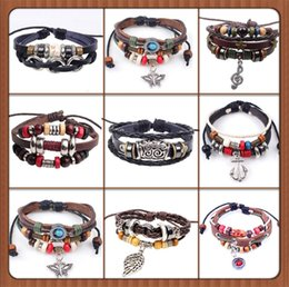 Wholesale new Designs Leather Bracelet Antique Cross Anchor Love Peach Heart Owl Bird Believe Pearl Knitting Bronze Charm bracelets