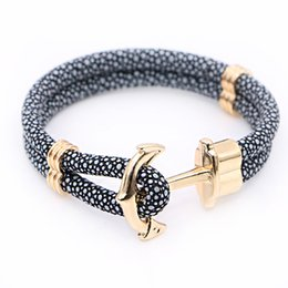 Wholesale 2016 New Fashion Anchor Bracelets Stingray Leather Bracelet for Women Man Best Friends Gift pulseira