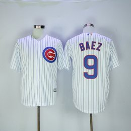 Wholesale Cubs Javier Baez Baseball Jerseys Blue Stripe World Series Brand Baseball Apparel Cool Base Player Jerseys