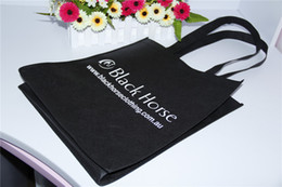 Wholesale customized black non woven shopping bag tote bag grocery bag recycle material with CM