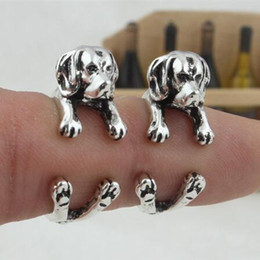 Wholesale Aimeilai Vintage French bulldog rings Dachshund Dog jewerly Gun Black Antique Silver Antique Bronze Sausage Dog Ring