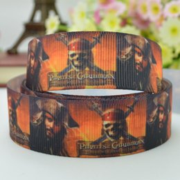 Wholesale quot mm pirates of the caribbean Printed grosgrain ribbon hair bow DIY handmade OEM yards