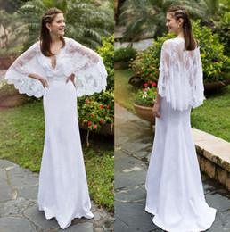 2016 beach wedding dresses with lace cape sleeves v neckline sheath wedding gowns bohemian romantic noya bridal gowns