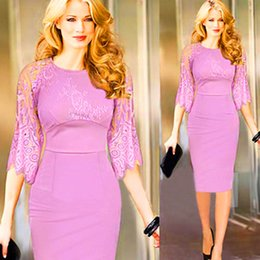 2016 New Arrival Fashion Grace Women One-piece Dresses Pink Three Quarter Sleeve Elegant Lace Slim Pencil Dress