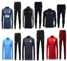 Wholesale best thai quality Manchester Arsenal Barcelona Atletico psg Manchester manchester city jerseys Men Training suit blue black