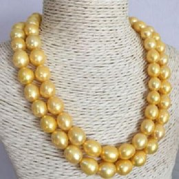 2 ROW 11-13MM NATURAL SOUTH SEA GOLD PEARL NECKLACE 14K YELLOW GOLDEN CLASP @