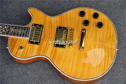 Wholesale 2015 New Custom Abalone flower inlaid fingerboard Best Tiger Flame Top LP Supreme Electric Guitar guitarra